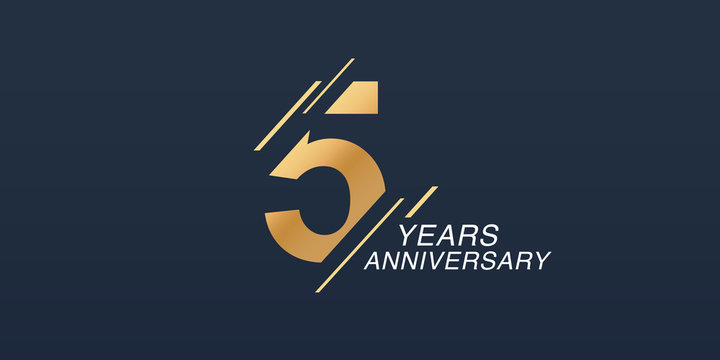 5 years anniversary vector icon, logo. Graphic design element with golden number