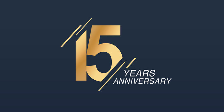 15 years anniversary vector icon, logo. Graphic design element with golden number