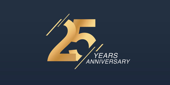 25 years anniversary vector icon, logo. Graphic design element with golden number