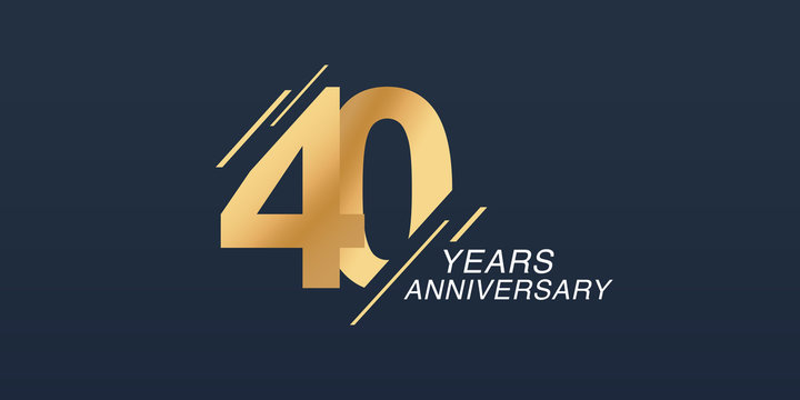 40 years anniversary vector icon, logo. Graphic design element with golden number