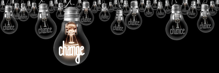 Light Bulbs with Chance and Change Concept