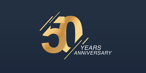 50 years anniversary vector icon, logo. Graphic design element with golden number