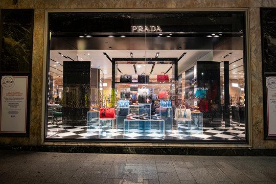 Paris, France - March 04, 2019: Prada luxury store in Paris, March 2019.