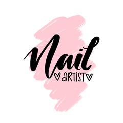 Nail artist hand drawn logo design template.