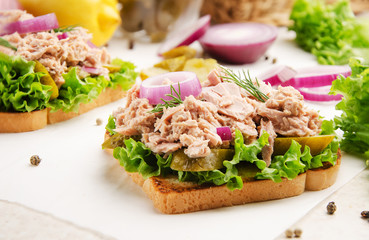 Tuna sandwiches with pickled cucumbers and onions on parchment paper