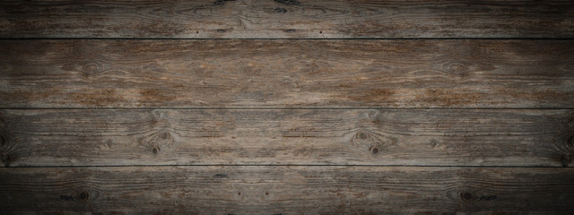 Stores à enrouleur Bois old brown rustic dark weathered wooden texture - wood background panorama banner long
