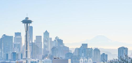 View of Seattle Day Warm Light Winter skyline, WA, USA Wall mural