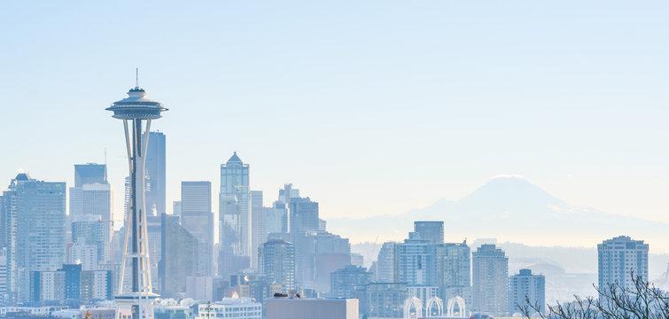 View of Seattle Day Warm Light Winter skyline, WA, USA