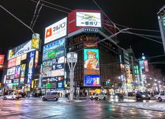 2019年11月 北海道札幌市 / 夜のすすきのネオン街