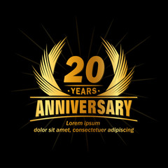 20 years logo design template. 20th anniversary vector and illustration.