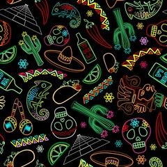 Tuinposter Draw Mexico Fiesta Ornamental Line Art Elements Vector Seamless Repeat Textile Pattern