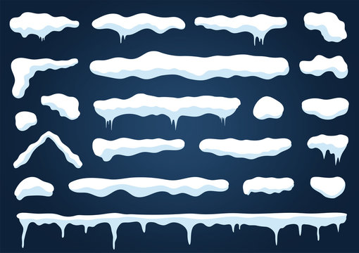 Snow caps and snowdrifts isolated on blue background. Set of white snow caps with icicles and piles with icy texture
