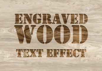 Burn Engraved Wood Text Effect