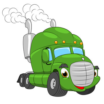 Vector cartoon semi truck. Cartoon funny truck. Green cute car.