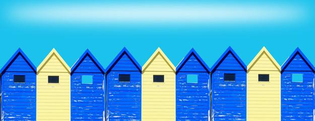 cabines de bord de mer colorées , vacances ,été Wall mural