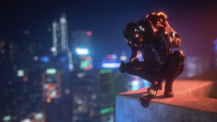 3d illustration cyborg female sitting on her haunches on the edge of the concrete roof of tall building looks down at the night city. Sci-fi girl in futuristic black armor suit with jet pack, helmet