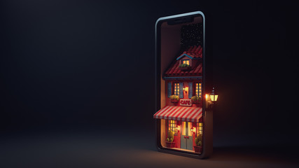 3d illustration night scene of cafe with striped awning, blue shutters and door on smartphone screen with stars. Concept art online cafe reservation. Yellow light from the windows late in the evening. Fotobehang