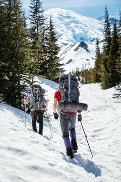 Climbers  approach Mount Rainier, Mount Rainier National Park, Washington, USA
