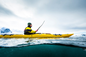 Man kayaking in Cierva Cove
