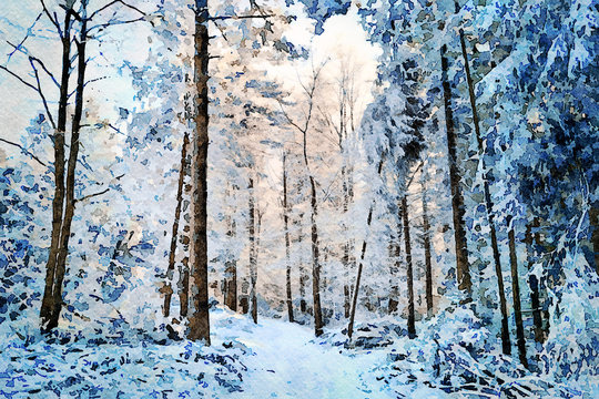 Digital art painting canvas - beautiful winter landscape: white and snowy pathway among trees in a deep forest on a sunny and cold day (watercolor effect).