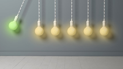 light bulb as pendulum is hitting other lightbulbs like in a newton cradle
