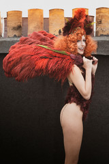 Showgirl on the rooftop of Paris