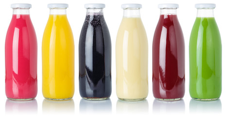 Wall Mural - Group of fruit smoothies fruits orange juice drink in a bottle isolated on white