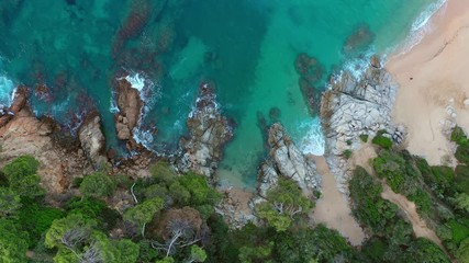 Fototapete - Picturesque sea bay with clean sand beach