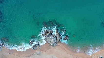 Fototapete - Tropical beach and sea bay with clear turquoise water aerial view. Summer scenic seascape. Spain seashore.
