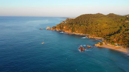 Fototapete - Seashore with beautiful bays with turquoise water