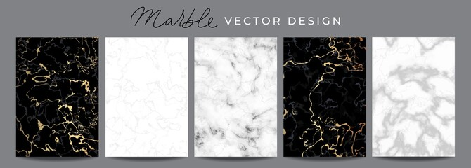 Set of marble vector design luxury backgrounds. Collection consists of black, white, gray marmoreal stone texture templates with golden lines for wedding invite, greeting, birthday card and covers Fototapete