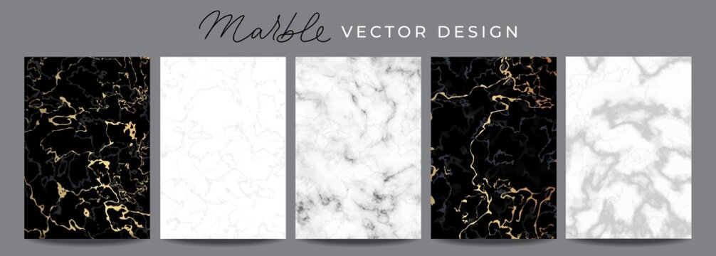 Set of marble vector design luxury backgrounds. Collection consists of black, white, gray marmoreal stone texture templates with golden lines for wedding invite, greeting, birthday card and covers