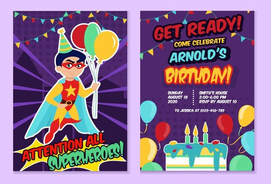 Superhero party festive template with cute boy vector illustration. Invitation card for kids birthday with cartoon superhero child in mask holding air balloons. Childhood concept