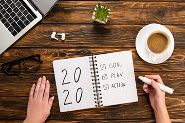 cropped view of businesswoman holding felt-tip pen near notebook with 2020, goal, plan, action lettering near laptop, wireless earphones, coffee cup on wooden desk