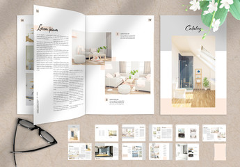 Furniture Catalog Layout with Grey and Pale Orange Accents
