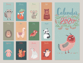 Wall Mural - Calendar 2020 with Woodland characters. Cute forest animals.