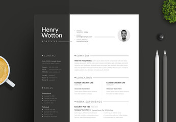 Creative Resume and Cover Letter Layout with Dark Sidebar Design