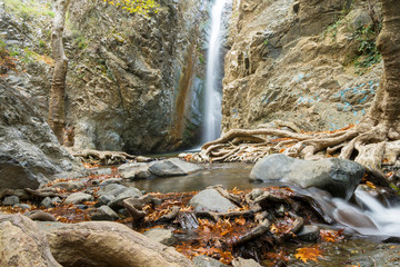 Fotobehang Cyprus a view of a small waterfall in troodos mountains in cyprus
