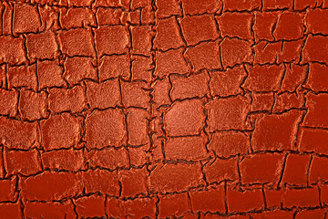 Wall Mural - Abstract image of brown crocodile leather, as background. Top view surface in backdrop.