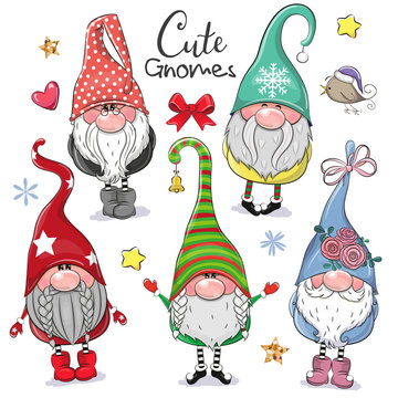 Cute Cartoon Gnomes isolated on a white background