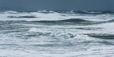 Storm waves in the Atlantic Ocean. Stormy weather in Biarritz, France.