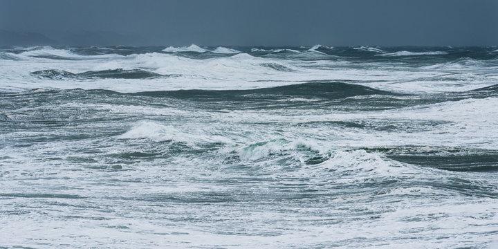 Storm waves in the Atlantic Ocean. Stormy weather in Biarritz, France.