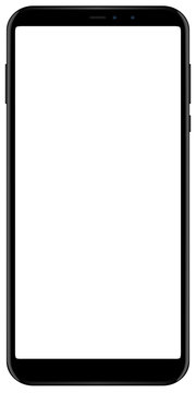 Brand new smartphone black color with blank screen isolated on white background mockup. Front view of modern android multimedia mobile phone easy to edit and put your image or text.