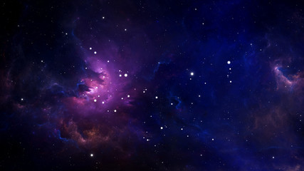 Fototapete - Glowing huge nebula with young stars. Space background