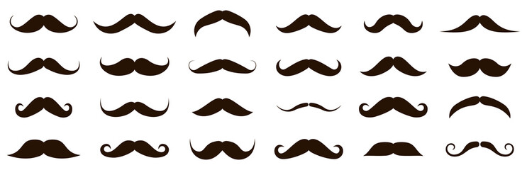 Different mustache collection. Vector illustration
