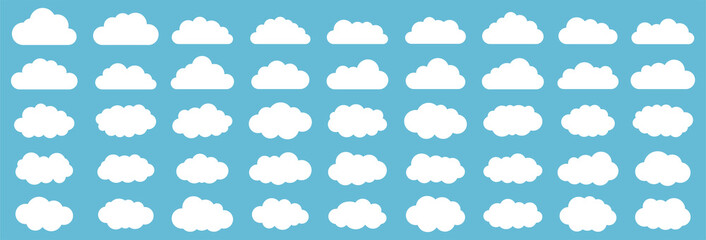 Set of clouds. Cloud icon. Vector illustration. Wall mural