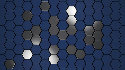 Wall Mural - Blue and matal chrome  hexagons background pattern, 3d render illustration