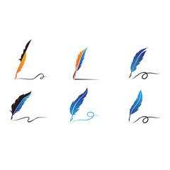 Feather pen Logo template