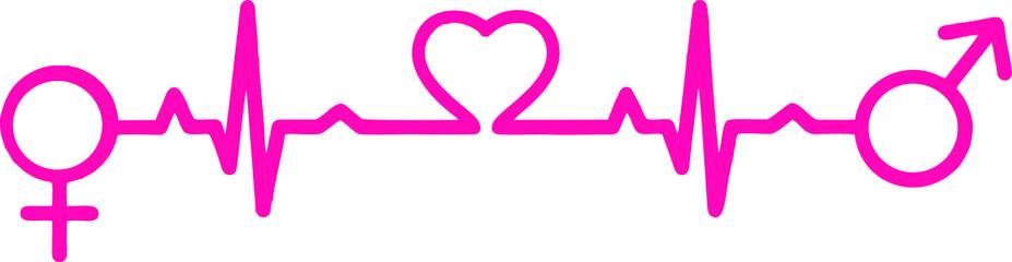 Pink Heartbeat love. Man - Woman EPS