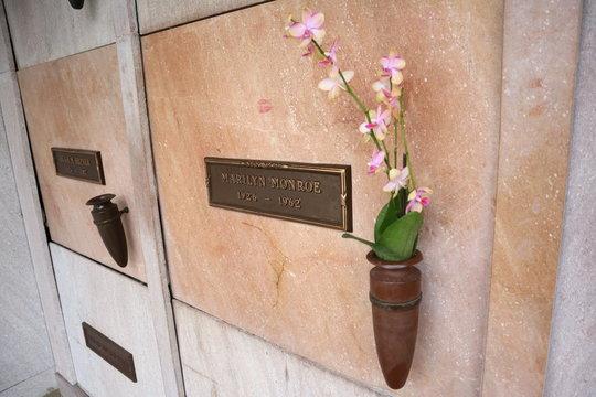 Los Angeles, California - May 10, 2019: Marilyn Monroe grave in the Westwood Village Memorial Park in Los Angeles, California